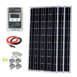 Giosolar 300 Watt Monocrystalline Solar Panel Kit with LCD M