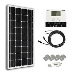 HQST 100 Watt 12 Volt Monocrystalline Solar Panel Kit with 3