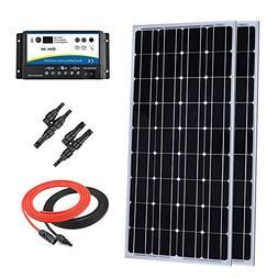 Giosolar 200 Watt 12 Volt Monocrystalline Solar Panel Kit wi