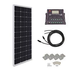 HQST 100 Watt 12 Volt Monocrystalline Solar Panel Kit with 3