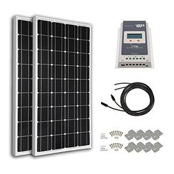 HQST 200 Watt 12 Volt Monocrystalline Solar Panel Kit with 2