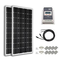 HQST 200 Watt 12 Volt Monocrystalline Solar Panel Kit with 2