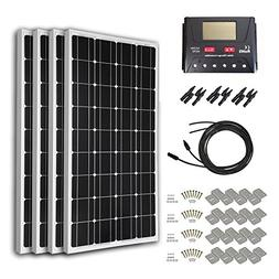 HQST 400 Watt 12 Volt Monocrystalline Solar Panel Kit with 3