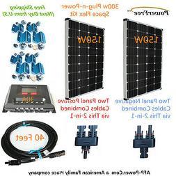 MonoPlus Solar Cells Two 150w Watt Panels 300w 300 Watt Kit
