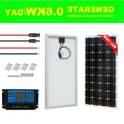 New 120W Solar Panel kit 12V battery Charge 20A Controller C
