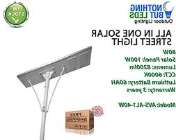 All in One Solar Street Light 80W, Color Temperature 6000K,