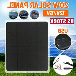 Outdoor 20W 12V Car Boat Yacht Solar Panel Trickle Battery C