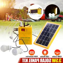 Outdoor Solar Panel Generator LED Light USB Charger System B