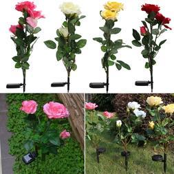 Outdoor Solar Panels Powered Rose Flower 3 LED Light Yard Ga