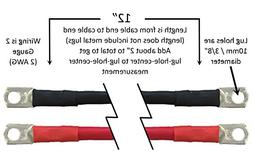 """Truck Upfitters 12"""" Pair of 2 AWG Black & Red Power Cables f"""