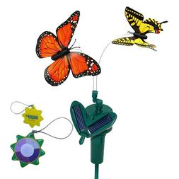 HQRP Pair of Solar Powered Flying Fluttering Butterflies Ora