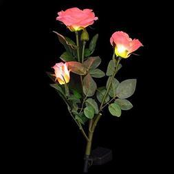 Matefield Pink Rose Flower Solar LED Light Garden Yard Lamp