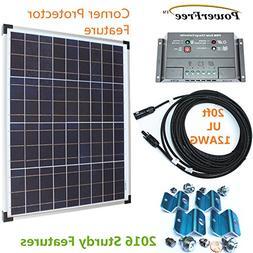 50w Plug-n-Power SuperBlack Solar Panel Charging Kit for 12v