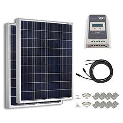 HQST 200 Watt 12 Volt Polycrystalline Solar Panel Kit with 4