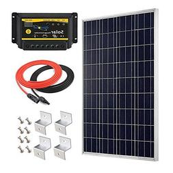 Giosolar 100W 12V Polycrystalline Solar Panel Kit with 20A L