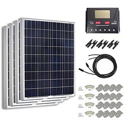 HQST 400 Watt 12 Volt Polycrystalline Solar Panel Kit with 3