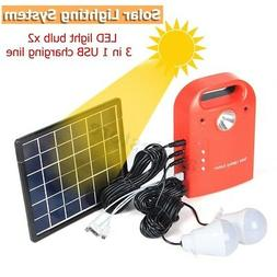 Portable Lighting Solar Panels Kit Charging Generator Power