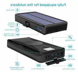 Portable Solar Charger 24000mAh 5 Solar Panels Waterproof Du