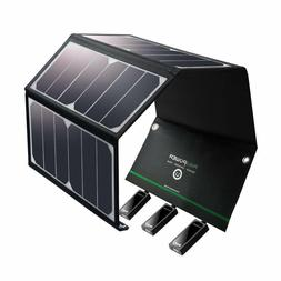 Portable Solar Charger 24W Solar Panel with Triple USB Ports