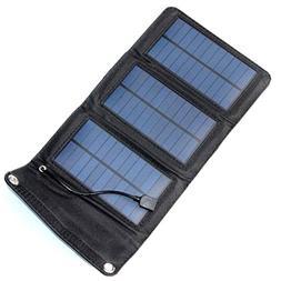 NUZAMAS Portable Solar Panel Charger Foldable 5W 5.5V USB Re
