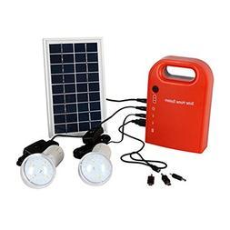 Portable Solar Panel Power Generator 2 LED Home Lighting Sys