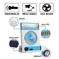ECO LLC Portable Solar Rechargeable Fan Camping Light Flashl