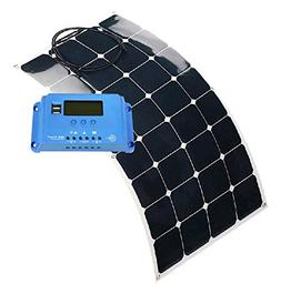 Aims Power 120W Flexible Bendable Slim Solar Panel & 10 Amp