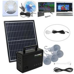 Solar Panel Generator System Portable Home Kit LED Light 12V