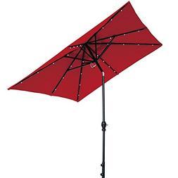 Abba Patio 9 by 7 Feet Rectangular Patio Umbrella with Solar