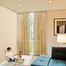 Rod Pocket Sheer Curtains Window Voile Treatment Panels for