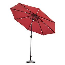 Elecwish 9ft Patio Market Umbrella Outdoor 32 LED Lights USB