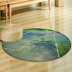 Small round rug Carpetaerial view over solar panel farm ou