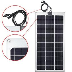 Lensun 80W 12V Semi-Flexible Monocrystalline Solar Panel for