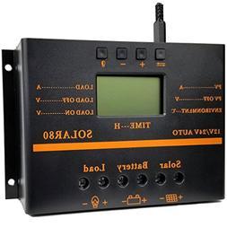 ZHCSolar Solar Charge Controller 80A PWM 12V 24V 1920W Solar