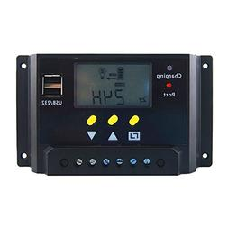 Hompie 30A Solar Charge Controller Intelligent Solar Panel R