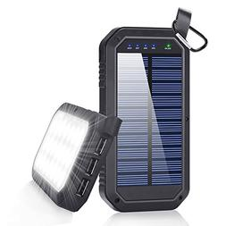 BESWILL Solar Charger 8000mAh, 3 USB Ports and 21 LED Light