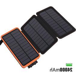 Solar Charger 24000mAh, FEELLE Solar Power Bank with 2 USB P