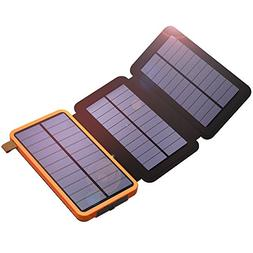 Solar Power Bank, X-DRAGON 10000mAh Solar Charger with 3 Sol