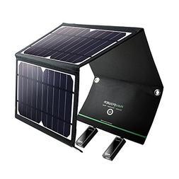 RAVPower Solar Charger 16W Solar Panel with Dual USB Port Wa