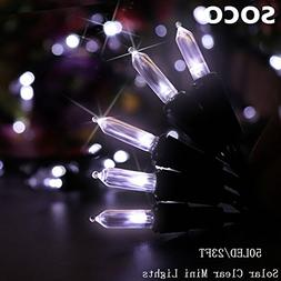 Solar Christmas String Lights 100 LED 39ft Clear Mini Lights