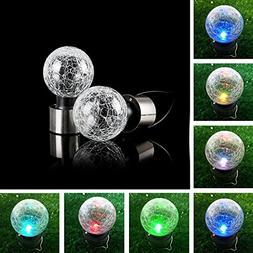 DSstyles Solar Energy Powered Bulb Crackle Glass Ball LED Bu