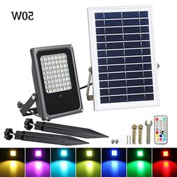 Solar LED Flood Lights, T-SUNRISE 50W RGB Color Changing Out