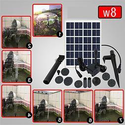 8W Solar Fountain Water Pump Kit Solar Power Panel Upgraded