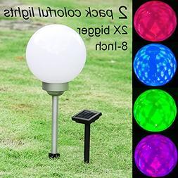 Maggift 8-Inch Multicolor Solar Garden Ball Lights Solar Lig
