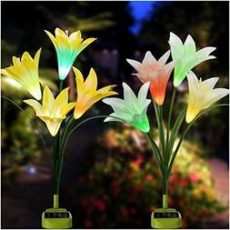 Solar Garden Lights, 2018 Newest Solar Flower Lights with Bi