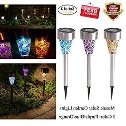 Solar LED Garden Lights Outdoor Stake Lights Solar Mosaic Pa