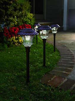 Set of 4 Solar Garden Path Lights, Glass and Powder Coated C
