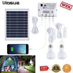 Solar Generator Lighting Home System Kit w/Solar Panel 2 Lam