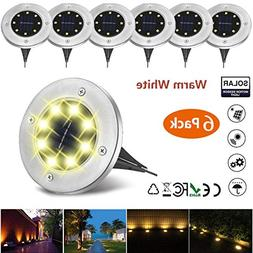 NICPAY Solar Ground Lights, 8 LED Garden Pathway Outdoor In-