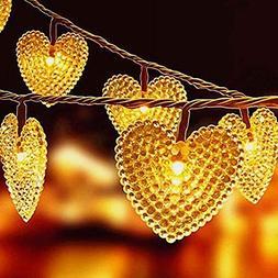KINGCOO Solar Heart String Light, Waterproof Heart Shaped Fa